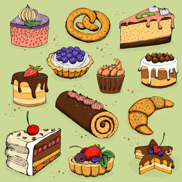 Pies and flour products for bakery, pastry Free Vector