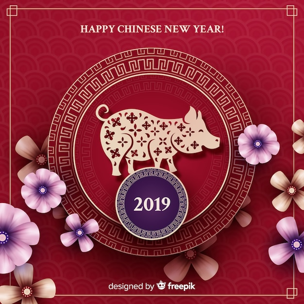 pig and flowers chinese new year background free vector