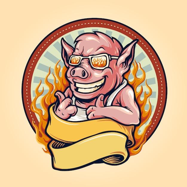 Свинья барбекю барбекю талисман логотип с лентой и огнем винтаж Premium векторы