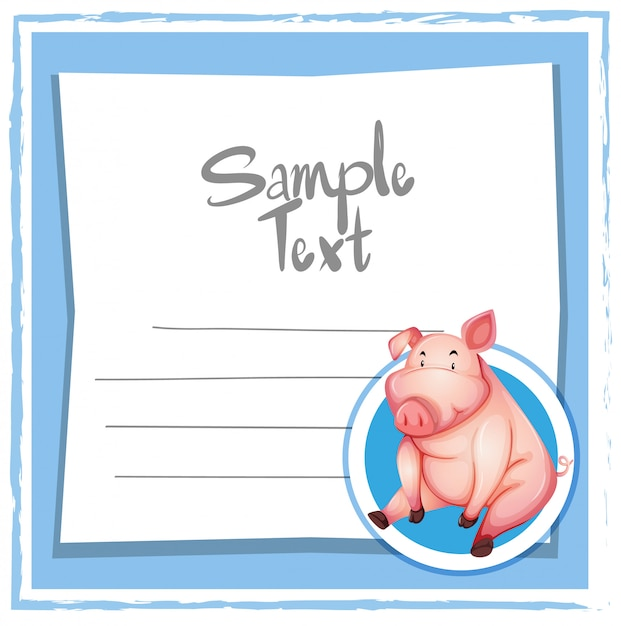 Pig on blue note Free Vector