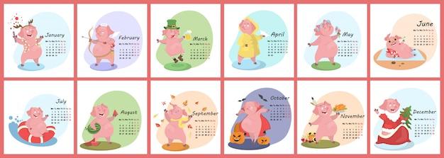 Календарь свиньи. симпатичный календарь на месяц с забавной свиньей. неделя начинается в понедельник. иллюстрация в мультяшном стиле. Premium векторы