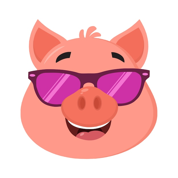 Cartoon Pig Face With Glasses