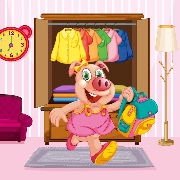 A pig cartoon character in the room Free Vector