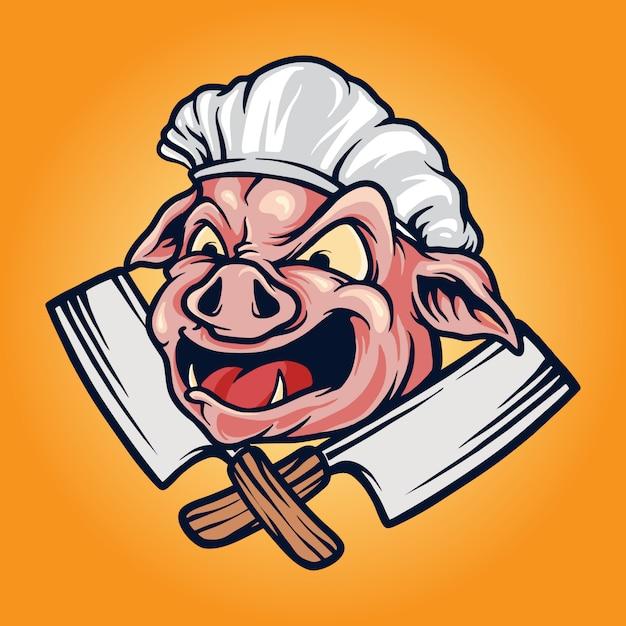 Pig chef  barbecue bbq mascot logo Premium Vector
