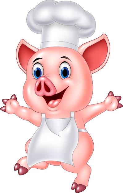 돼지 요리사 만화 프리미엄 벡터