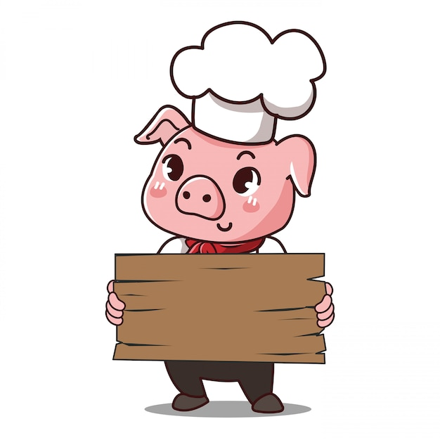 Pig chef holds a sign with space to put your message down. Premium Vector