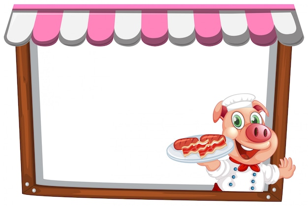 A pig chef note template Free Vector