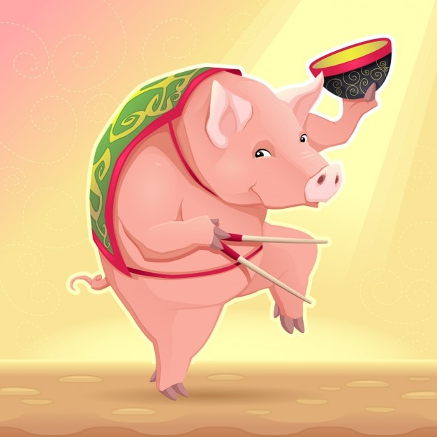 Pig, chinese horoscope Free Vector