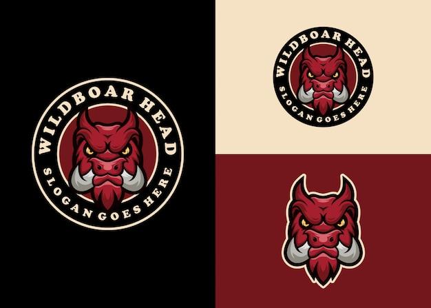 Свинья креативный талисман эмблема современный дизайн логотипа Premium векторы