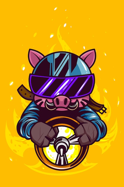 Pig driving on yellow flame Premium Vector