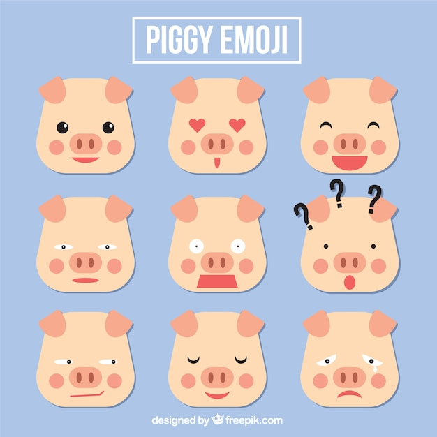 Pig emoji set in geometric style Free Vector