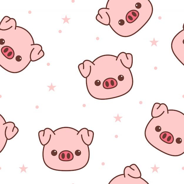 Pig face cartoon seamless pattern Premium Vector