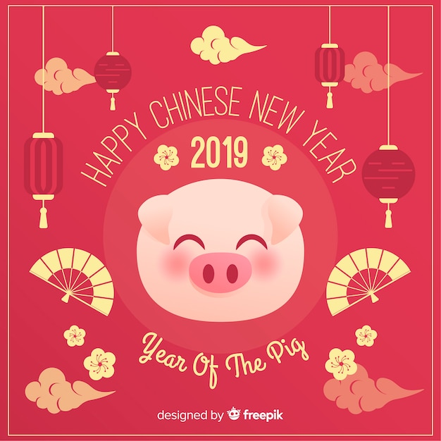 Pig face chinese new year background Free Vector