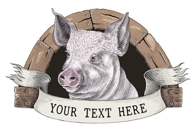 養豚場のロゴの手描きのヴィンテージ彫刻スタイルのクリップアートを白で隔離 Premiumベクター
