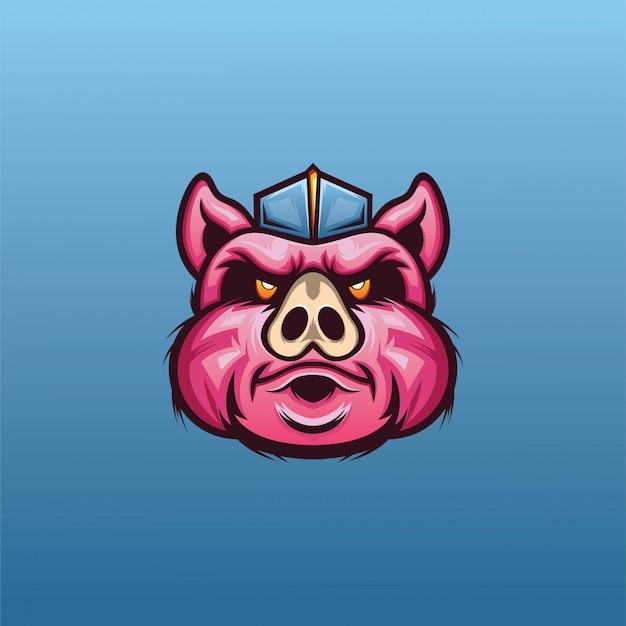 Pig head for esport logo vector Premium Vector