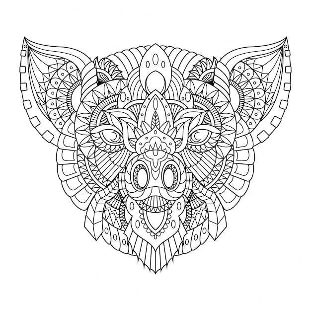 豚イラスト、直線的なスタイルの塗り絵のマンダラzentangle Premiumベクター
