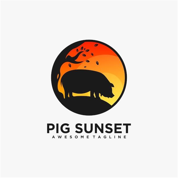 Pig mascot illustration logo design vector template Premium Vector