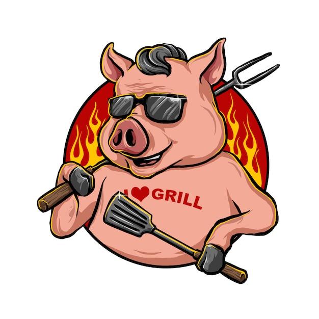 Свинья талисман Premium векторы