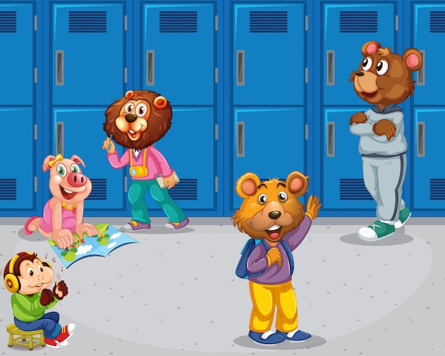 Pig, monkey, bears in school setting Free Vector