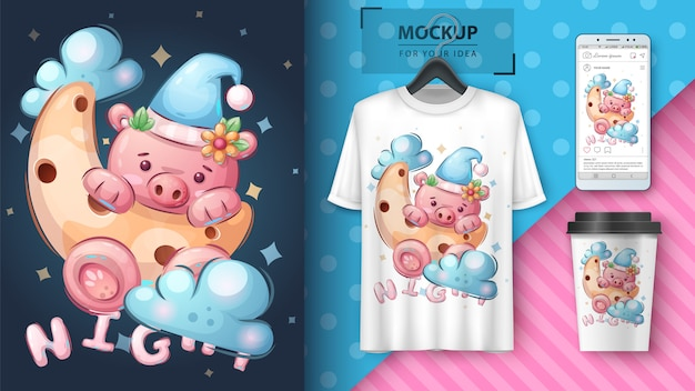 Pig on the moon - poster and merchandising Free Vector