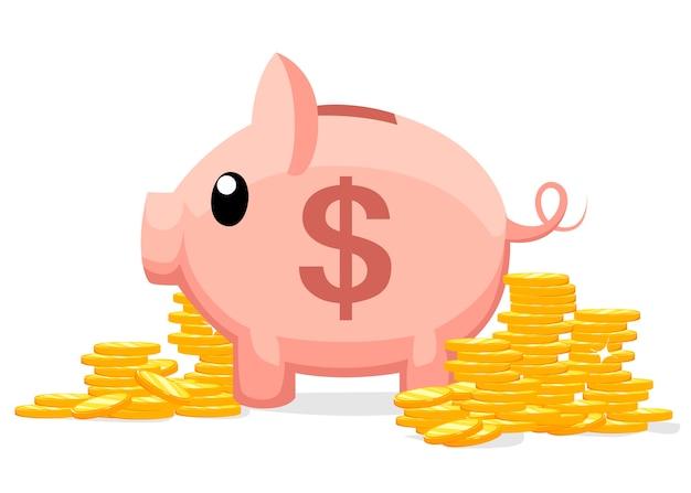 でのコインのイラストと豚貯金箱。お金を節約または節約するか、銀行預金を開くという概念。おもちゃの豚の貯金箱の形で投資のアイコン。 Premiumベクター