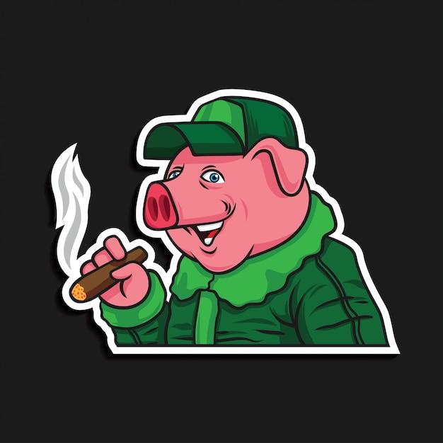Pig pilot cartoon character with cigarette Premium Vector