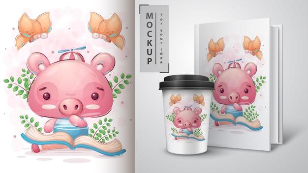 Свинья читает книгу плакат и мерчендайзинг. Бесплатные векторы