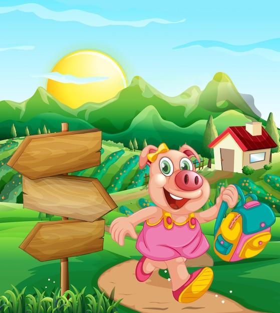 Pig at rural house Free Vector