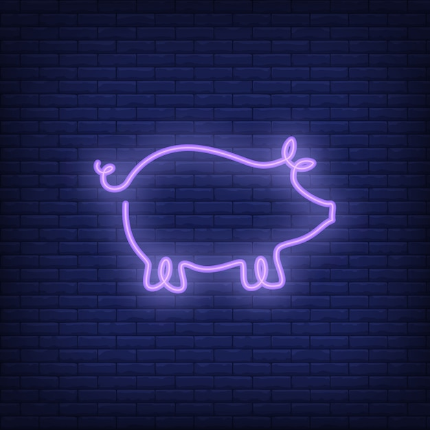 pig shape neon sign template night bright advertisement vector
