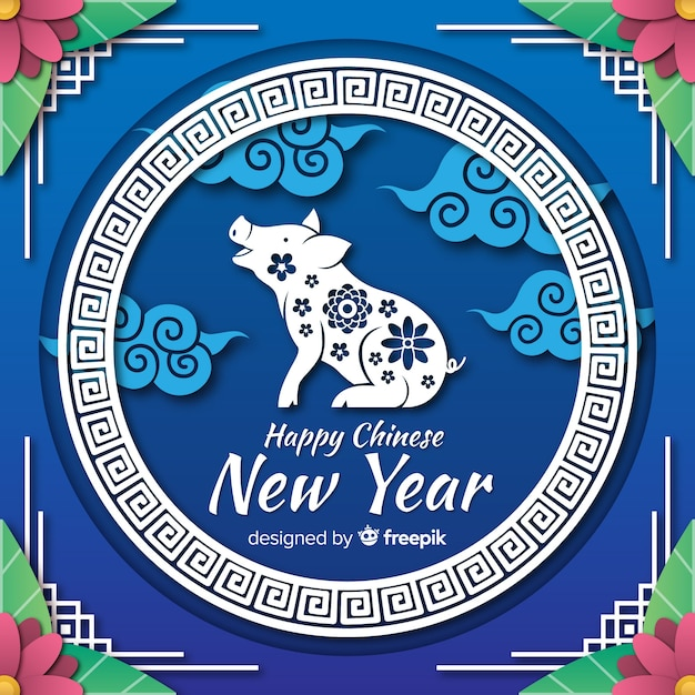 Pig silhouette chinese new year background Free Vector