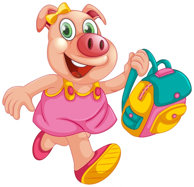 A pig student character Free Vector