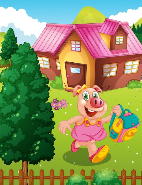 Pig student holding backpack Free Vector