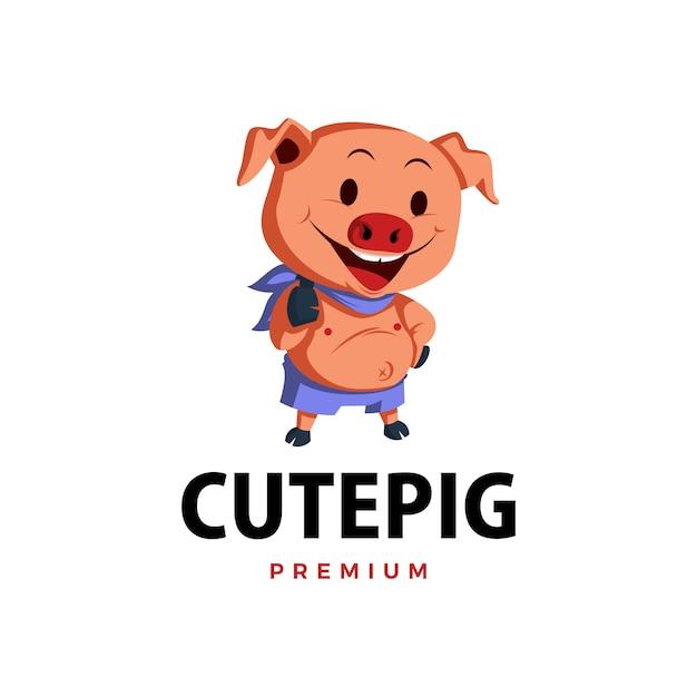 Свинья большой палец вверх талисман характер логотипа значок иллюстрации Premium векторы