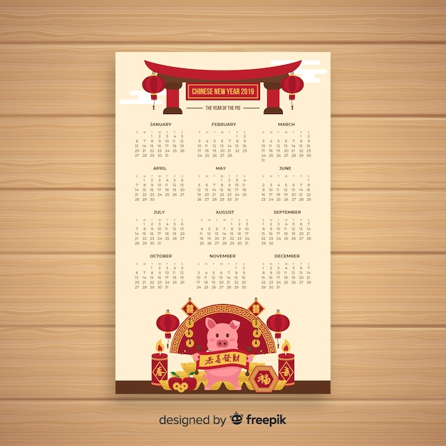 Pig with candles chinese new year calendar Free Vector