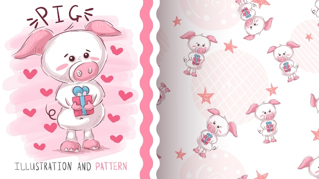 Pig with gift  seamless pattern Premium Vector