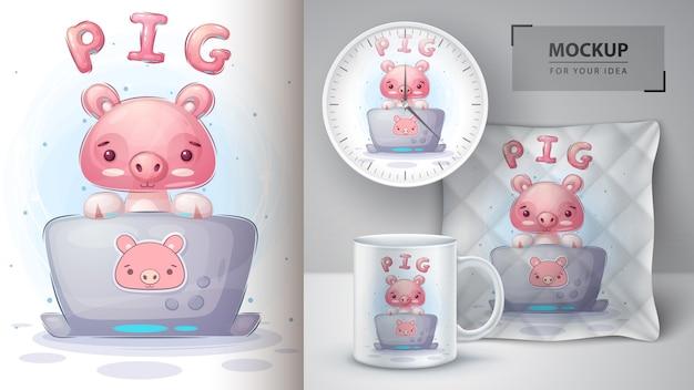 Свинья работает над плакатом и мерчендайзингом в блокноте. Бесплатные векторы
