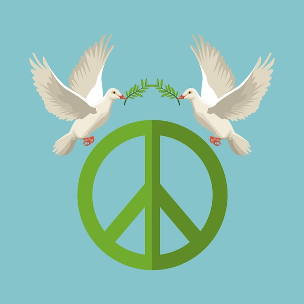 Pigeons With Olive Branch Flying With Peace And Love Symbol Vector