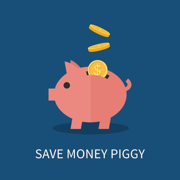 貯金箱と金貨。お金の節約と投資の概念。 Premiumベクター