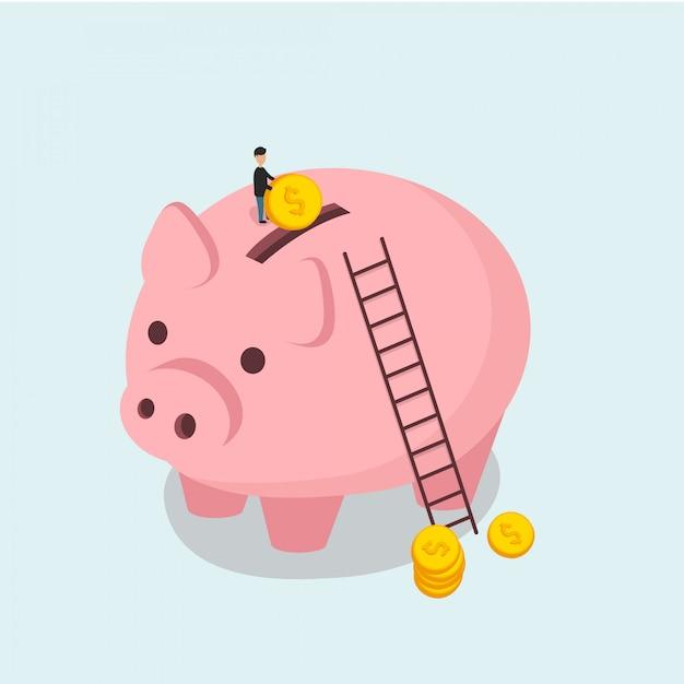 貯金箱と男は等尺性フラットスタイルでコインイラストをスローします Premiumベクター