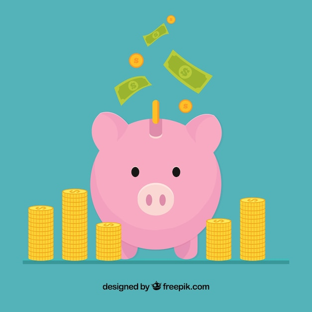 Piggy bank background of business Free Vector