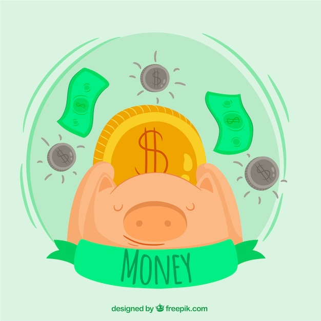 Piggy bank background with coins and bills Free Vector
