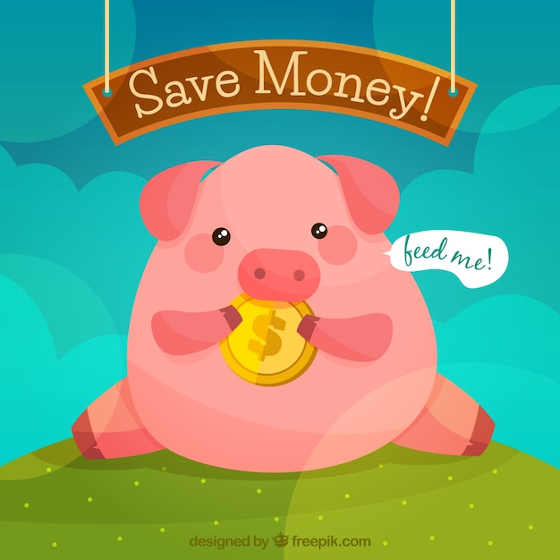 Piggy bank background Free Vector