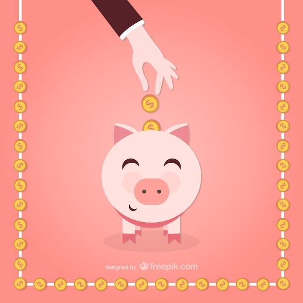 Piggy bank cartoon vector Free Vector