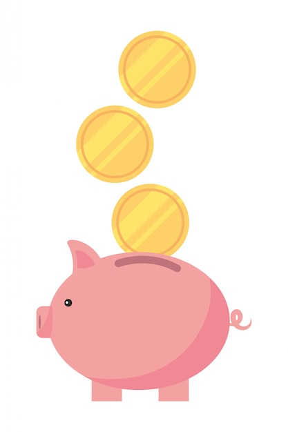 Piggy bank cartoon Premium Vector