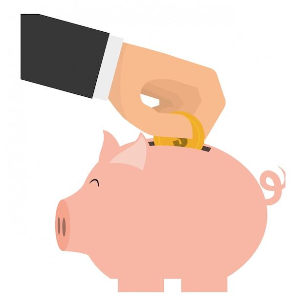 Immagine clip-piggy bank Vettore gratuito