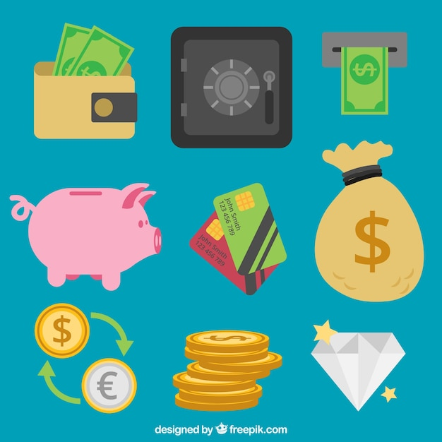 bce35477dc Piggy bank collection with other money items Vector | Free Download