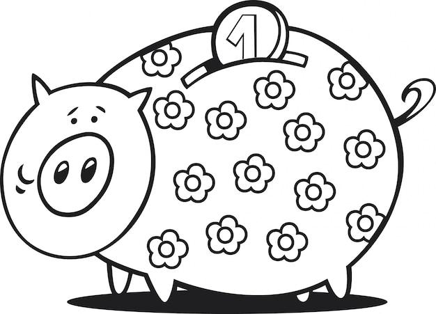 Piggy bank for coloring book Vector | Premium Download