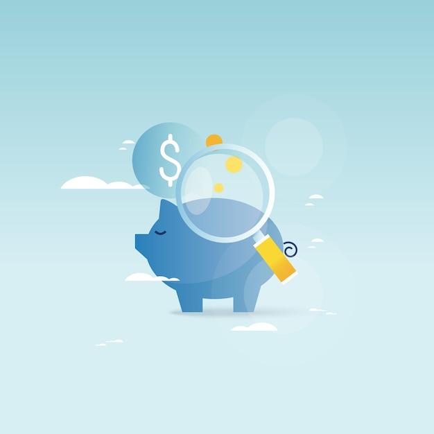 ピギーバンクコンセプト、金融投資、予算管理、貯蓄口座、預金、年金基金、財務計画モバイルとウェブグラフィックのためのベクトルイラストデザイン Premiumベクター