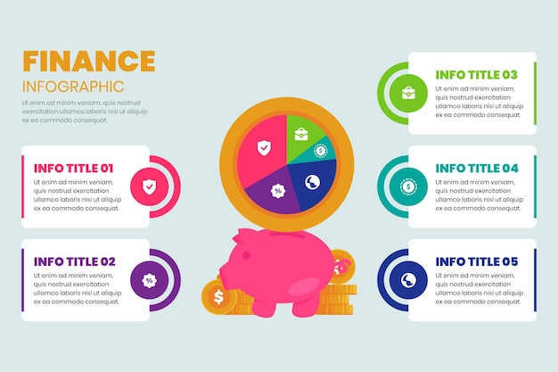 Piggy bank financeinfographic template Free Vector