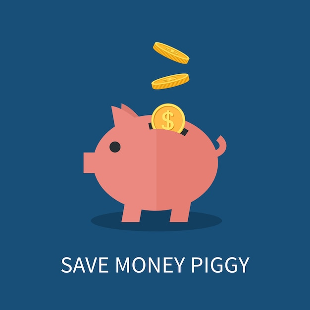 Piggy bank and gold coins. saving and investing money concept. Premium Vector